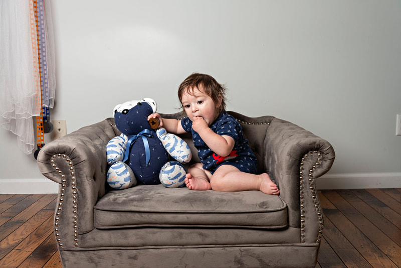 photo of a memory bear by the pretty piggy shop on etsy and a 1 year old baby boy photographed by Laura Pea Photography